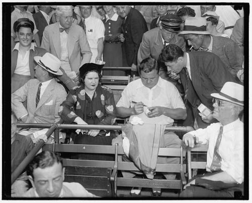 Babe Ruth,Claire Merritt,autographing,ball,All-Star game,Griffith Stadium,1937
