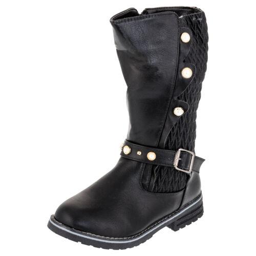 Matelassée Bottes Fille Hiver Chaussures Fermeture Éclair Boucle Perles