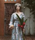 $750 New Zimmermann Winsome button down dress in sky blue 2 3 floral silk long