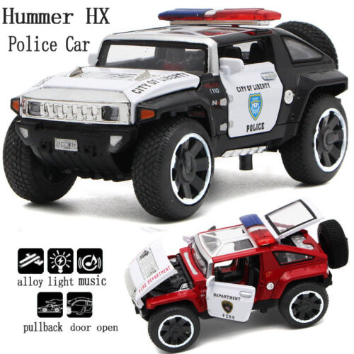 Hummer Police Diecast Vehicles 1:32 Alloy Model Pull Back Car with Sound & Light