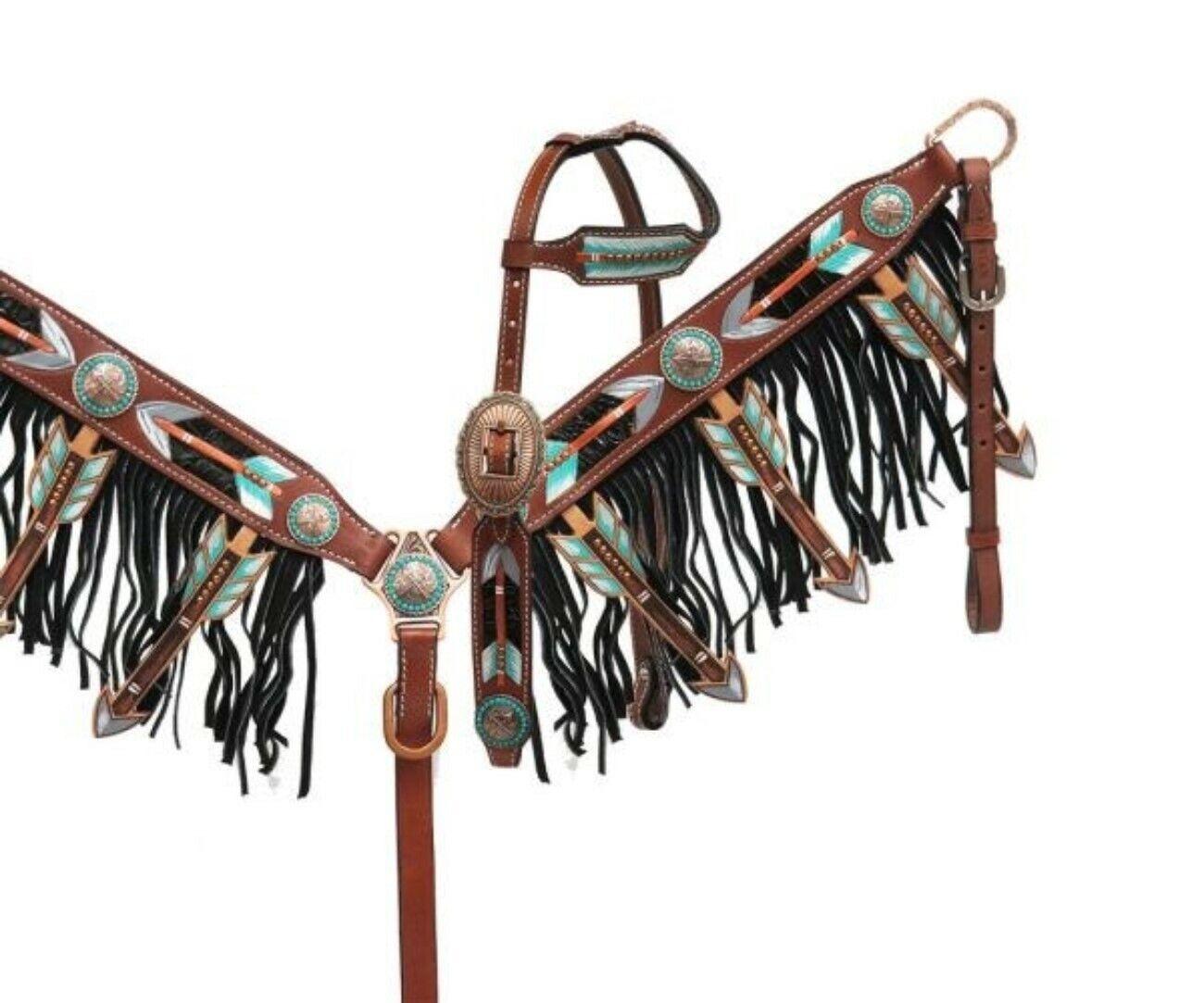 Showman Pintado Cut-Out Diseño De Flecha Cabezada & Flecos pecho collar conjunto