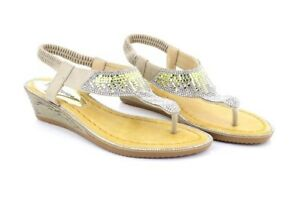 e01cda7db8b9 Image is loading ShuCentre-Nude-Silver-Diamante-Elasticated-Summer-Wedge- Sandals