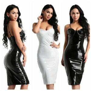 3f6c53b9ac5 Sexy Women s Sleeveless Wet Look Bodycon Cocktail Party Mini Dress ...