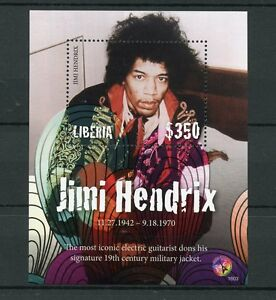 Liberia 2016 MNH Jimi Hendrix 1v S/S Guitar Rock Stars Music Celebrities Stamps