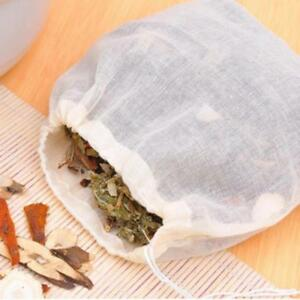 10 pieces Reusable Empty Tea Bags Loose Spice Herbs Bag with String, 13x16cm