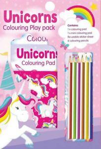 Paquete De Juego De Unicornio Colorante Lápices De Color De Actividad Set A4 Libro de la Etiqueta Engomada Divertido 3055