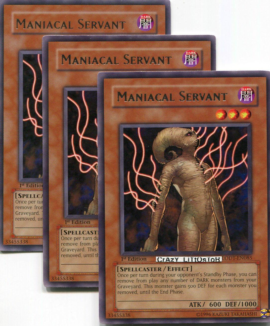 2 X YU-GI-OH RARE MANIACAL SERVANT LODT-EN085