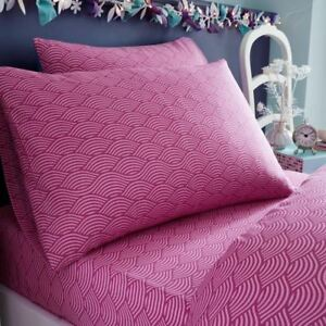 Vague-Sirene-Drap-Simple-Housse-D-039-Oreiller-Rose-Pourpre-Literie-Enfant