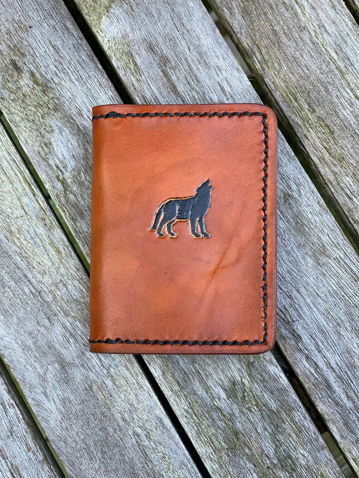 Custom Leather Micro Wallet with Howling Wolf USA Made Gift Stocking Stuffer