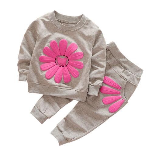 2tl Kinder Mädchen Freizeit Blumen Langarm Shirt Jogging Hose Set Kleidung