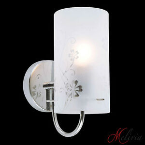 Aplique-de-pared-lampara-pie-cristal-patron-flores-Cromado-Blanco-E27