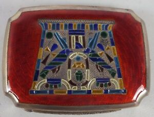 Antique-Silver-Compact-Lg-Snuff-Box-W-Egyptian-Enamel-Filigree-amp-Scarab