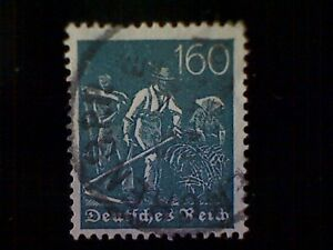 Timbres-Allemagne-Scott-176-utilise-O-1923-agriculteurs-160pfs-Slate-Green