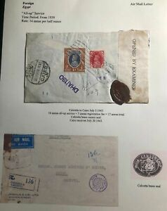 1943-Calcutta-India-Airmail-Censored-Cover-To-Credit-Agricole-In-Cairo-Egypt