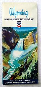 1965 CHEVRON HIGHWAY TRAVEL ROAD MAP WYOMING & YELLOWSTONE #B7
