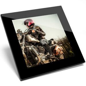 1 X Biker Chick Moto Verre Coaster-cuisine étudiant Qualité Cadeau #8266-afficher Le Titre D'origine Une Grande VariéTé De ModèLes