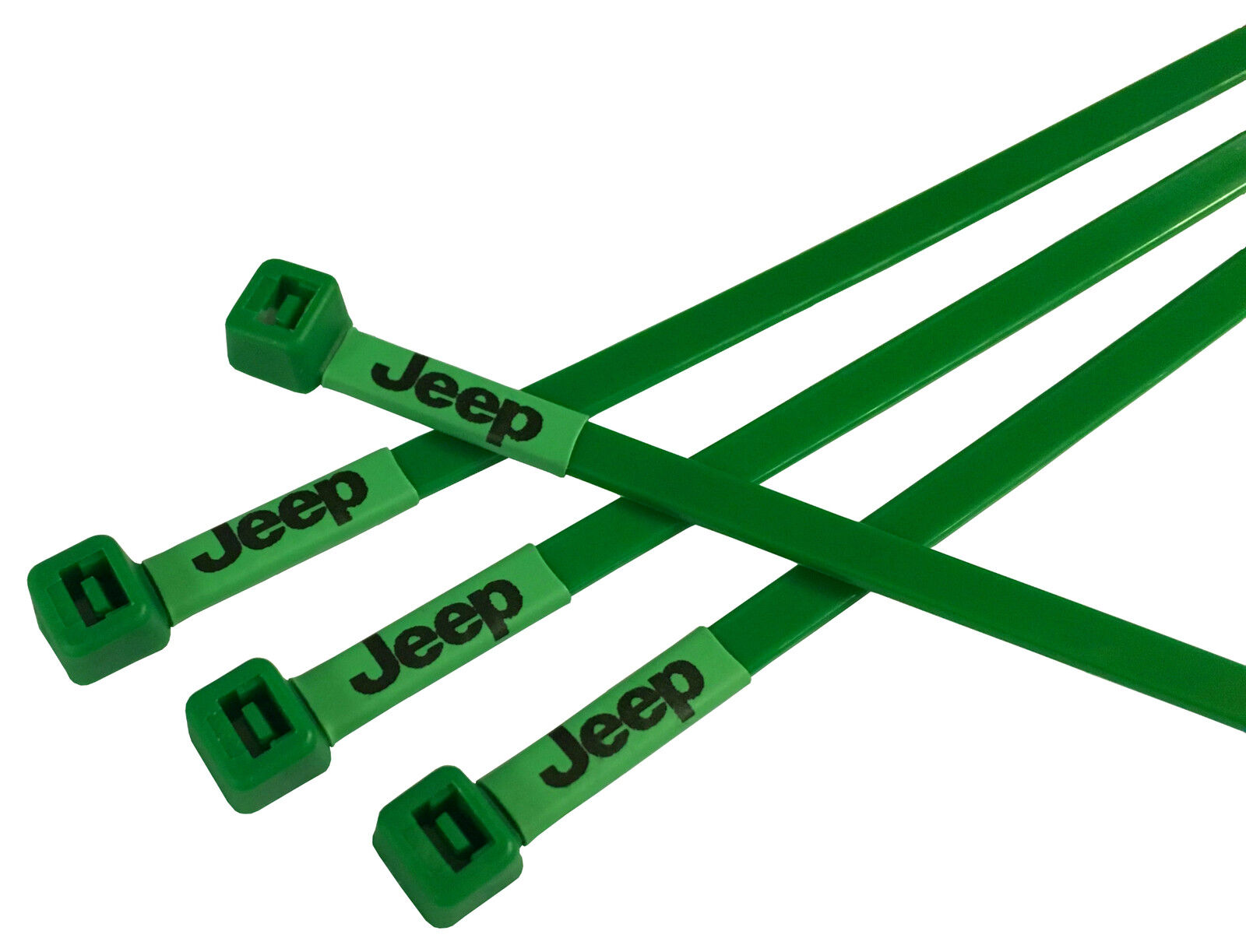 Jeep Logo Printed Cable Ties in Green Vehicle Modification Repair - 40pc pack