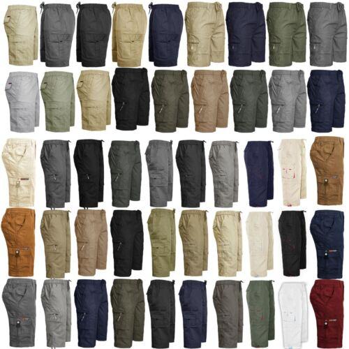 NUOVA linea uomo elastico in vita Cargo Combat Plain 3//4 Pantaloncini 6 tasche chiusura zip M-3XL