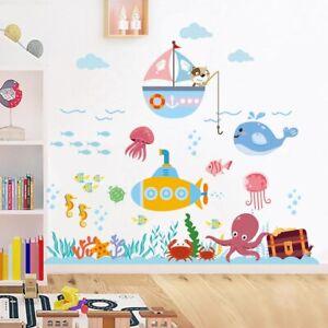 Underwater-Fish-Bubble-Wall-Stickers-Cartoon-Animals-Vinyl-Decal-Kids-Room-Decor