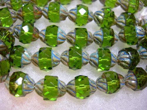 1 10x8mm Czech Glass Faceted Emerald Green Travertine Turbine Beads