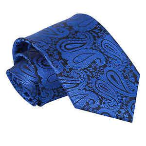 Royal-Blue-Mens-Tie-Woven-Floral-Paisley-Classic-Wedding-Necktie-by-DQT