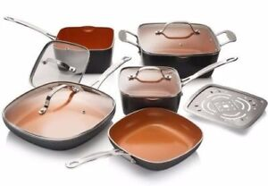 Gotham-Steel-Square-10-Piece-Nonstick-Copper-Frying-Pan-amp-Cookware-Set-NEW