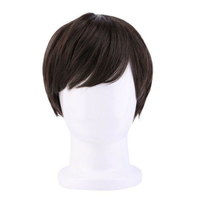 New Brown Fashion Men Straight Short Synthetic Hair Cosplay Party Full Wig #C5X