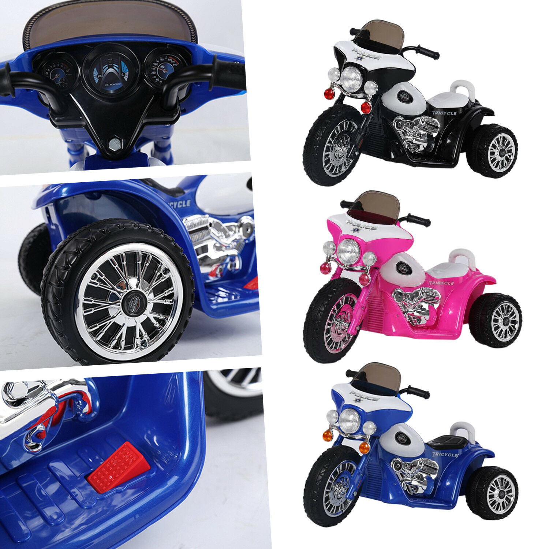 Kids 6v Ride On Police Battery Bike Trike Motorbike 3 Wheel Motor Cycle Tricycle