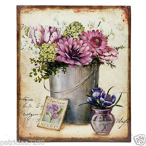 tableau peint sur toile decor fleurs rose bleu seau deco retro vintage peinture ebay. Black Bedroom Furniture Sets. Home Design Ideas