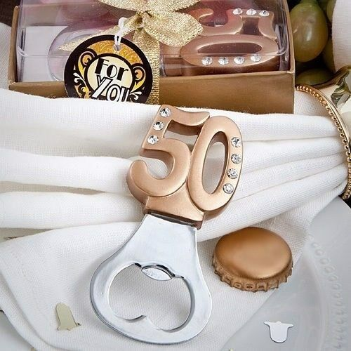 40 Gold Bottle Opener 50th Birthday Party 50th Anniversary Party Favors