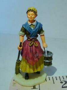 Lemax Victorian Village Cleaning Lady Maid  Mop and Water Bucket Figurine