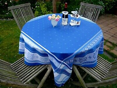Tischdecke Jacquard Baumwolle blau grau 160x160 cm aus Frankreich Teflonschutz