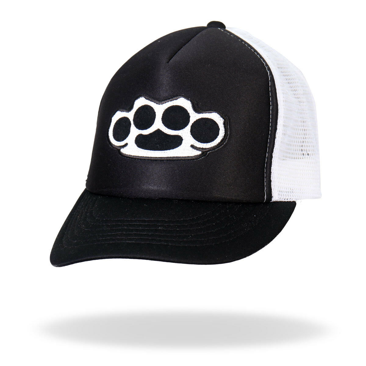 Knuckles Black & White Trucker Snapback Hat   Hat H1009 c0d4ae
