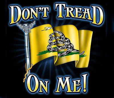 Don't Tread On Me Flag BLACK Adult T-shirt tea party navy army marines