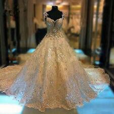2017 Custom Made Luxury Crystal Sweetheart Wedding Dresses Cathedral Royal Trian