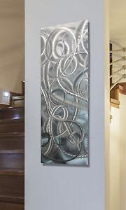Metal-Wall-Art-Abstract-Modern-Silver-Panel-Art-Sculpture-Delight-by-Jon-Allen