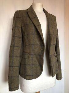 Zara-Medium-Tweed-Checked-Wool-Long-Sleeve-Country-Smart-Blazer-Jacket-SOLD-OUT