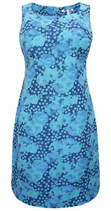 Ex-Pepperberry-Shift-Dress-Tunic-Textured-Jacquard-Blue-Floral