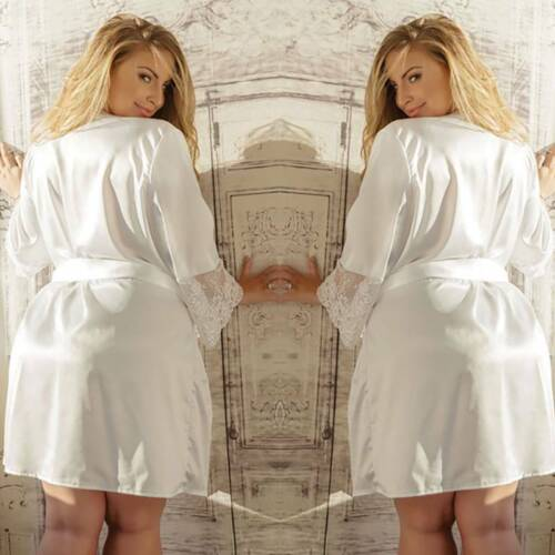 Womens Lace Kimono Bath Robe Babydoll Nightdress Nightgown Sleepwear Plus Size