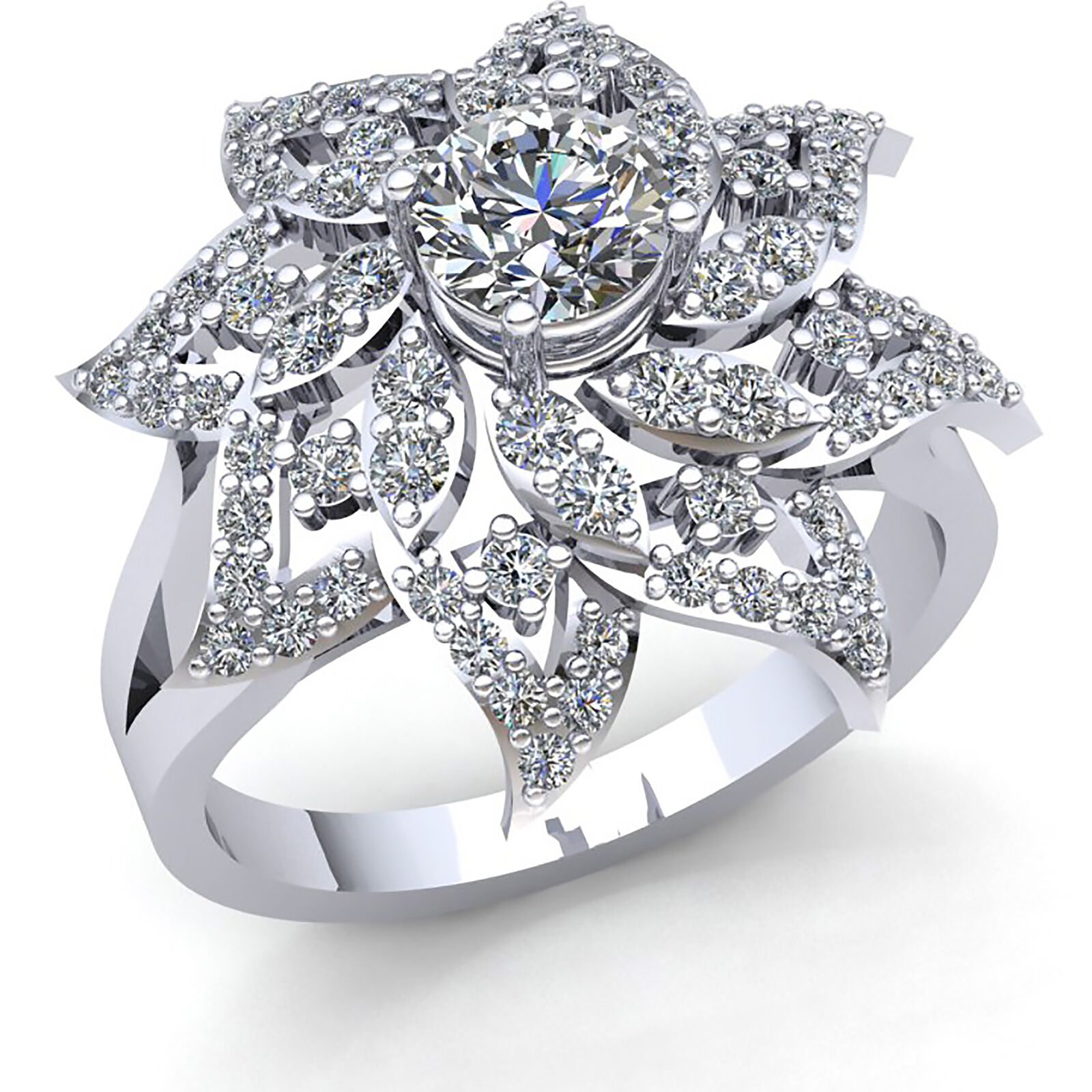 Natural 3 4ct Round Cut Diamond Womens Flower Solitaire Engagement Ring 10K gold