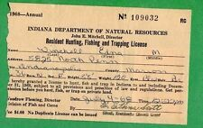 INDIANA 1968 Resident Hunting, Fishing & Trapping License RW35 Duck Stamp - 353