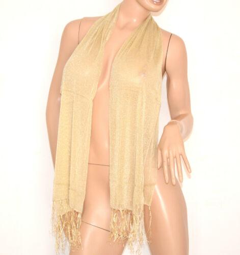 STOLA COPRISPALLE donna foulard oro beige seta cerimonia elegante bufanda 200C