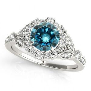 1 Carat Blue Diamond Solitaire Engagement Ring Stylish 14k White Gold Best Deal | EBay