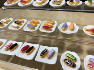 Handmade-Miniature-French-Pastry-Mini-Eclair-Clay-4-plates
