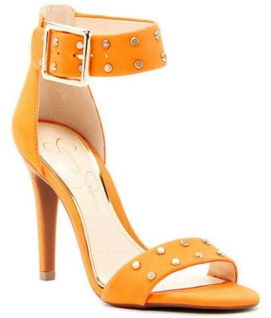 7273dfd74d2 Jessica Simpson ELONNA2 Open Toe Orange Studded Ankle Strap Slim HEELS 6