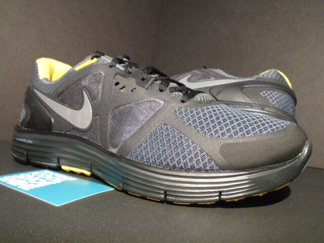 2011 NIKE LUNARGLIDE+ 3 LAF LIVESTRONG GREY BLACK YELLOW FLYKNIT 454515-007 9.5
