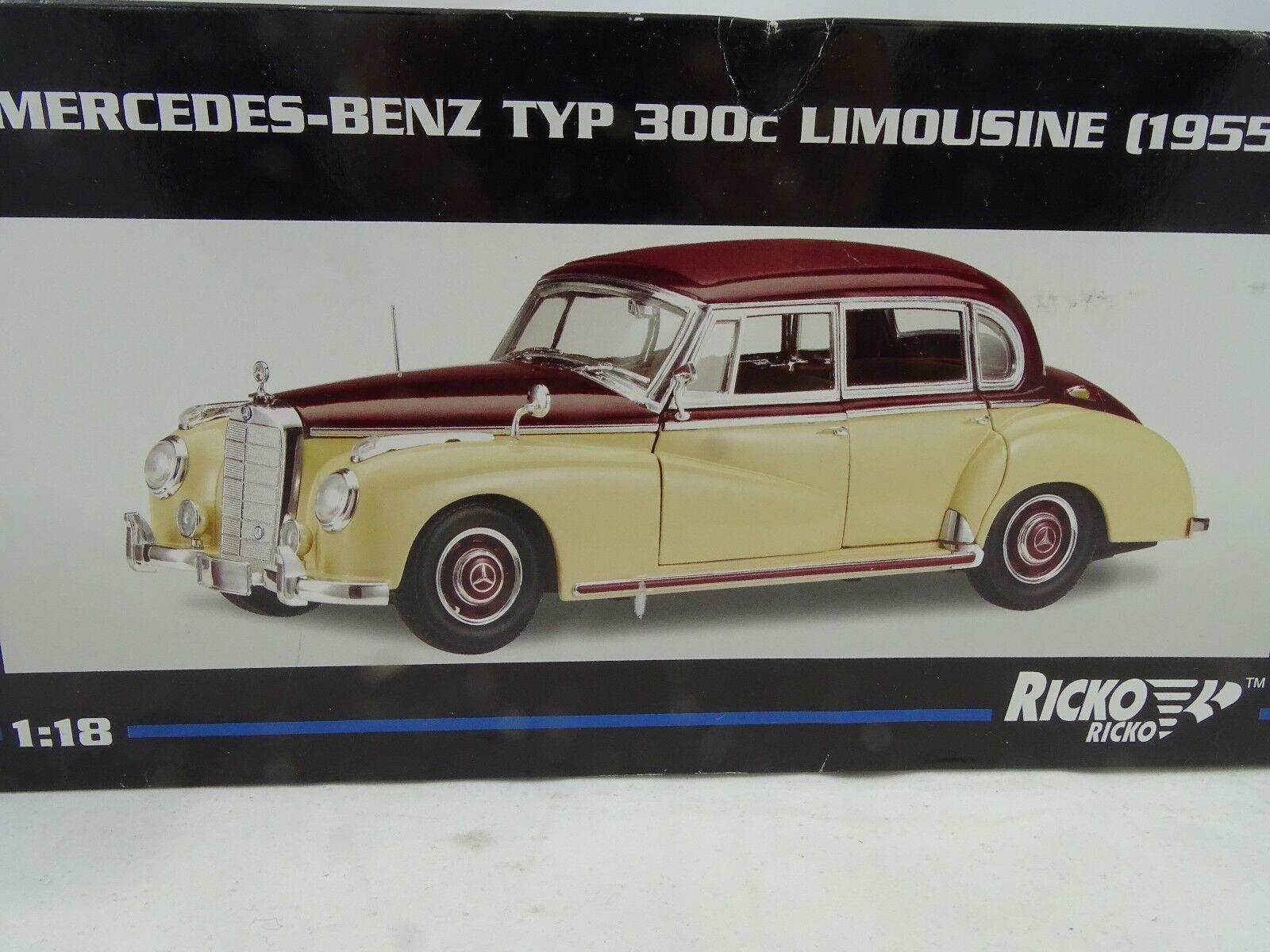 1 18 Ricko  32102 Mercedes-Benz 300c Sedán 1955 Crema Borgoña Rareza§