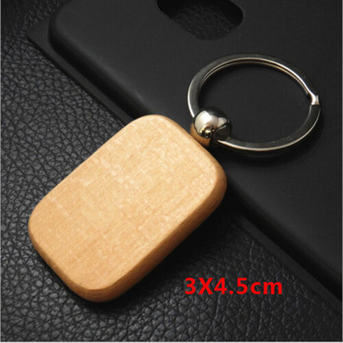 Plain Wooden Keyring Keychain Gift Bag Charm Tag Wood Key Ring Chain Fob Gift