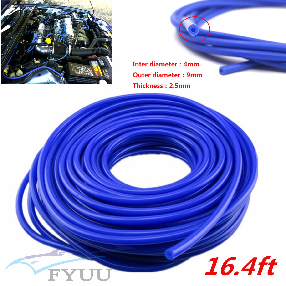 16.4ft 5M ID 4mm Blue Car Silicone Vacuum Hose Tube Pipe Silicon Tubing