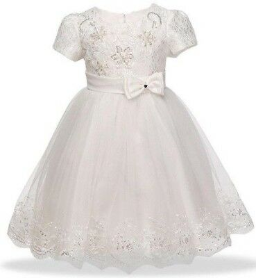 *FREE Headband Ivy Baby Flower Girls Formal Dress Christening Gown Birthday Gift